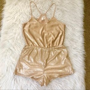 Forever 21 beige/gold sequin romper, small